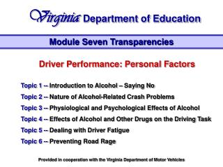 Driver Performance: Personal Factors Topic 1 --  Introduction to Alcohol – Saying No Topic 2 --  Nature of Alcohol-Rela