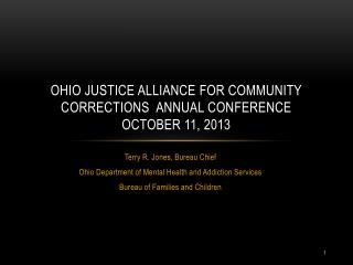 OHIO JUSTICE ALLIANCE FOR COMMUNITY CORRECTIONS  ANNUAL Conference october 11, 2013