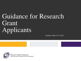 guidance for research grant  applicants