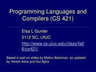 programming languages and compilers cs 421