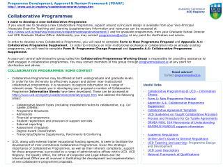 COLLABORATIVE PROGRAMMES: SOME CONTEXT