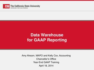 Data Warehouse for GAAP Reporting