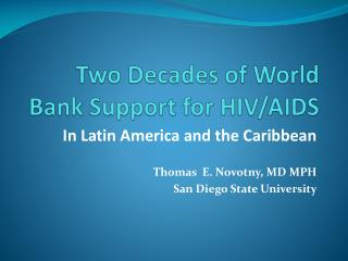Two Decades of World Bank Support for HIV/AIDS