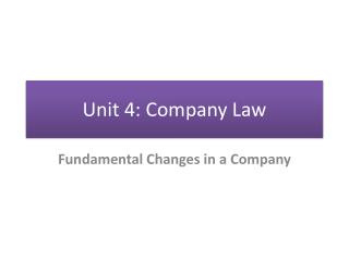 Unit 4: Company Law