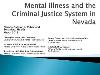Mental Illness and the Criminal Justice  System in Nevada