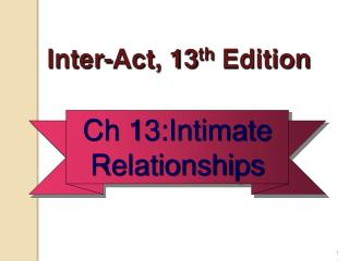 Inter-Act , 13 th  Edition