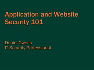 Application and Website Security 101
