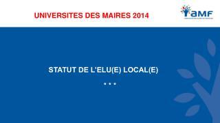 UNIVERSITES DES MAIRES  2014