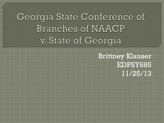 Georgia State Conference of Branches of NAACP  v. State of Georgia