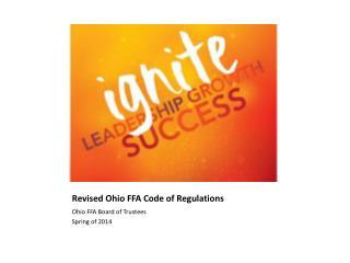 Revised Ohio FFA Code of Regulations