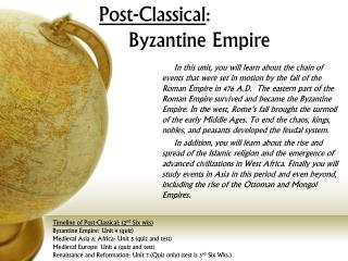 Post-Classical : Byzantine Empire