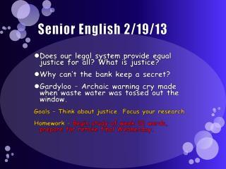Senior English 2/19/13