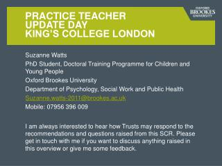 Practice Teacher  Update Day  King's College London