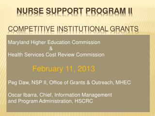 Nurse Support Program II Competitive Institutional Grants