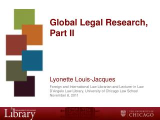 Global Legal Research, Part II