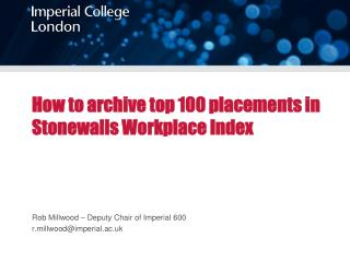 How to archive top 100 placements in Stonewalls Workplace Index