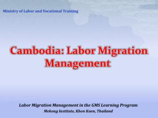 Cambodia: Labor Migration Management