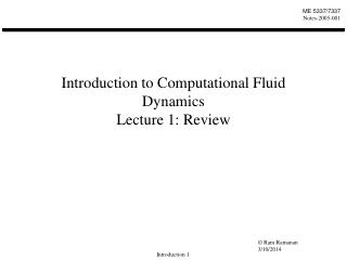 introduction to computational fluid dynamics lecture 1: review