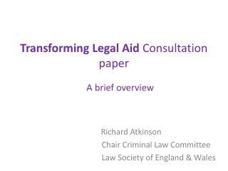 Transforming Legal Aid  Consultation paper