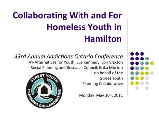 Collaborating With and For Homeless Youth in Hamilton