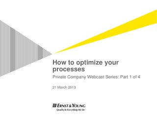 How to optimize your processes