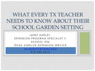 What every TX teacher needs to know about their school garden setting
