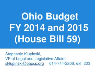 Ohio  Budget  FY 2014 and 2015 (House Bill 59)