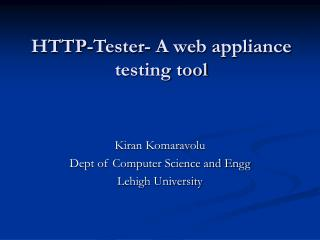 http-tester- a web appliance testing tool