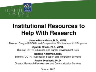 Institutional Resources to Help With Research