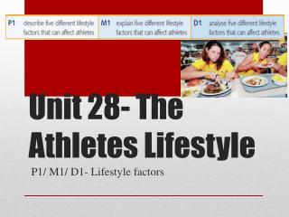Unit 28- The Athletes Lifestyle