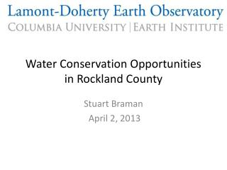 Water Conservation Opportunities  in Rockland County
