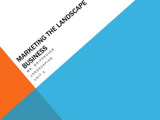 Marketing the landscape business
