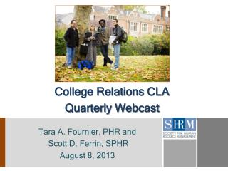 College Relations CLA Quarterly Webcast
