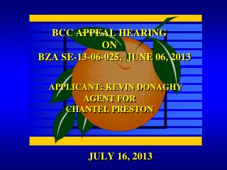 BCC APPEAL HEARING ON     BZA SE-13-06-025,  JUNE 06, 2013 APPLICANT: KEVIN DONAGHY  AGENT FOR  CHANTEL PRESTON