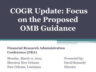 COGR Update: Focus on the Proposed OMB Guidance