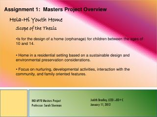 Assignment 1:  Masters Project Overview