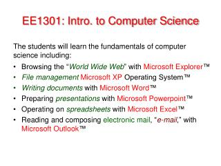 EE1301: Intro. to Computer Science