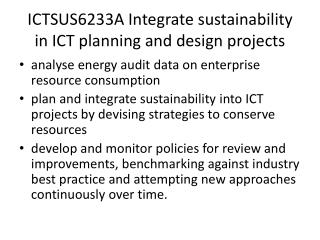 ICTSUS6233A Integrate sustainability in ICT planning and design projects