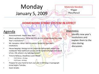 Monday January 5, 2009