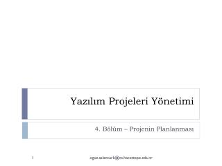 Yazılım Projeleri Yönetimi