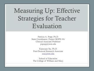 Measuring Up: Effective Strategies for Teacher Evaluation