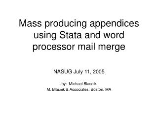 mass producing appendices using stata and word processor mail merge