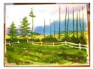 Painting a line of Pines - Part 2  OBJECT:  A watercolor experiment with complementary colors and contrasts. Painting P