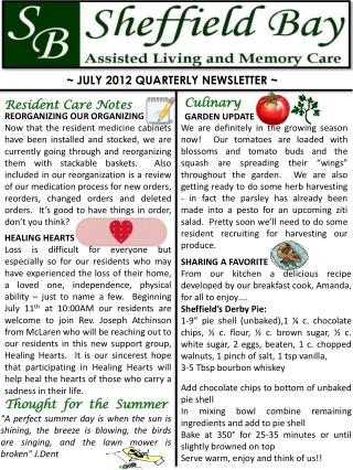 ~ JULY 2012 QUARTERLY NEWSLETTER ~