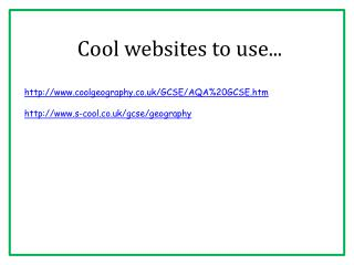 Cool websites to use...