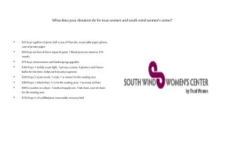 What does your donation do for trust women and south wind women's center?