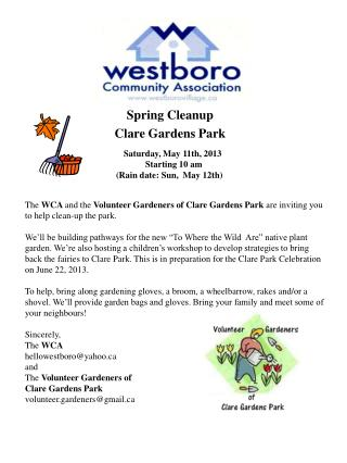 Spring Cleanup  Clare Gardens Park