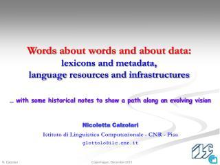 Nicoletta  Calzolari Istituto di Linguistica Computazionale - CNR - Pisa glottolo@ilc.cnr.it