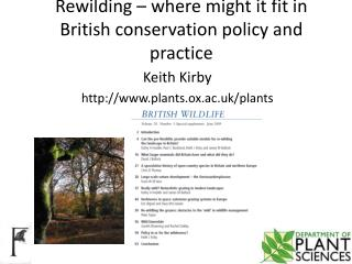 Rewilding – where might it fit in British conservation policy and  practice