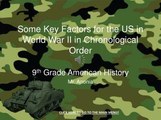 Some Key  F actors for the US in World War II in Chronological Order